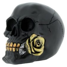 Black Rose From Dead Skull Head Figurine 15cm Ornament Skeleton Bones Gothic Art