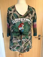 Oui Ladies Top Blouse 12 Parrot Island Casual Spring Sequin Beaded Embroidered