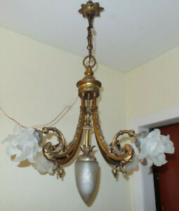Antike Jugendstil Decken,Bronze Kronleuchter, 5 Glasschirme, 5 Flammen