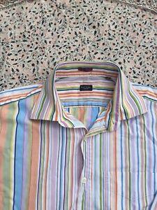 "PAUL SMITH - Multicolour - Candystripe - Button Cuff - Shirt - 16"" Collar"