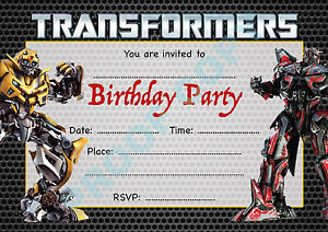 #18 TRANSFORMERS Pack of 10 megatron kids children birthday party INVITATIONS