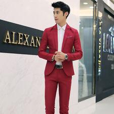 Men's Casual Slim Fit One Button Suit Blazer Coat Jacket Tops Pants Men Fashion