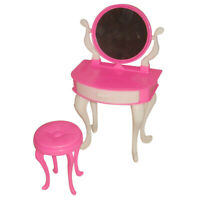 Dressing Table Chair Accessory Set For Barbies Dolls Bedroom House Furniture