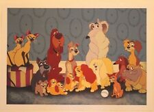 """Disney Art Print Lithograph 11""""x14"""" Lady and the Tramp Dog Pound Crew"""