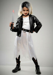 Kids Halloween Bride of Chucky Style Girls Fancy Dress Scary Movie Costume