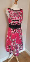 Monsoon Pink Floral Linen/Silk Blend Dress UK Size 12 Pretty Flattering Ladies