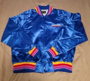 Vtg Swingster Pioneer Stereo Blue Satin Baseball Jacket Mens Size XL Pride