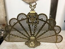 Antique Fan / Peacock Styled Brass Fireplace Screen with All Panels Deco