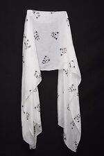 Black & White Cute Panda Print Sheer Scarf Suitable For Multi Occasions (S194A)