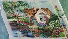 Finished Handmade Needlepoint Tapestry Fabric Cottage Garden Pillow Chair Frame