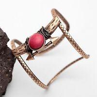 Tribal Boho Nature Stone Ethnic Open Copper Jewelry Bracelet Cuff Bangles