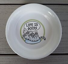 'Life Is Good!' Stoneware Cat Food Dish Water Bowl White & Green Kitty Ceramic