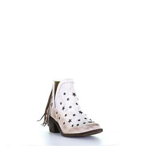Circle G by Corral Ladies White Studs & Fringe Ankle Boots Q0189