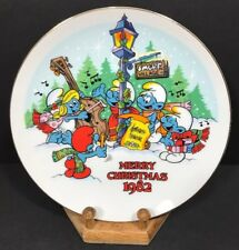 Smurf Carolers Christmas Collectibles Plate  Wallace Berrie 1982