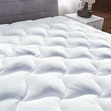 Queen Quilted Fitted Mattress Pad Cover Pillowtop Overfilled Cooling 8-21 Inch