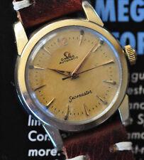 Vintage 1957 Omega Seamaster Watch Light Tropical Patina C. 471 Automatic Runs +