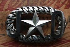 Vintage Stainless Steel Hand Made JO Texas Star Western Bikers Belt Buckle