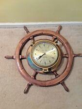 VINTAGE SHIP WHEEL BRASS PORT HOLE CLOCK (BATTERY)