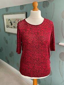 women's Principles very stretchy animal print red T shirt top 16 BNWT