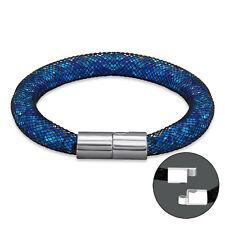 TJS Stardust Black Mesh Bracelet Magnetic Clasp Blue Crystal Tube