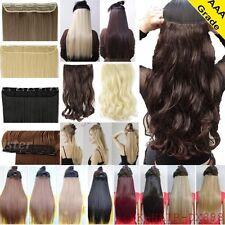 GB Clip en cabello Remy Extensión Pieza 5Clips Liso Ondulado Real Como