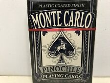 Monte Carlo Pinochle Playing Cards - Plasted Coated Finish NEW A4