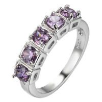 Wedding Band Rings Natural Round Purple Amethyst Silver Woman Ring Size 6-10 New