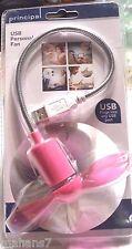 Pink USB PersonalFlexible Mini Cooler Fan by Principal, USB 1.1 or 2.0 Seal