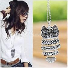Women Vintage Silver/Copper Owl Pendant Necklaces Long Chain Cheap CEP