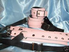Pink  leather wrist & ankle Bed cuffs set  Any Colour fetish