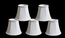 "Urbanest Chandelier Mini Lamp Shades,5"" Bell Silk,White w/ Braid Trim,Set of 5"