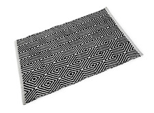 Diamond Black and White Cotton Bath Mat