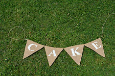 Rustic Cake Hessian Bunting Wedding Decorations Shop Display Restaurant Birthday