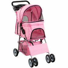 4 Wheel Pet Stroller for Cat, Dog Pets, Foldable Carrier Strolling Cart, Pink