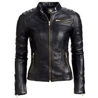 Black Women's Slim Fit Biker Style Real Leather Jacket M14