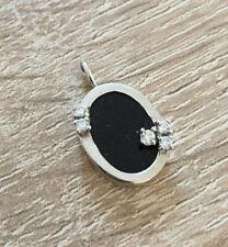 Ovaler Onyxanhänger Silberanhänger  Anhänger 925er Silber mit schwarzem Onyx