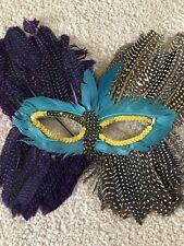 Purple Turquoise Black White Feather Mask Masquerade Mardi Gras