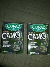 "Lot of 2 Box Curad Camp Camo Adhesive Bandages 3/4""X3"" 50 Flex Fabric Band Aids."