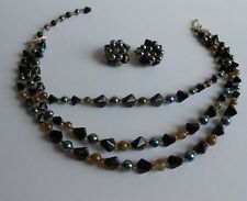 Vtg 50S Three Strand Necklace & Clip On Earring Set, Blk & Blue