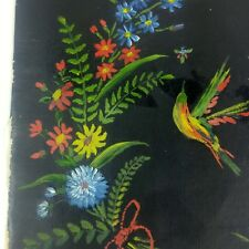 Vtg Hand Painted Oil Painting Small Canvas Flowers Birds Colorful on Black 4x6