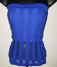 Connection 18 NWOT Woman's Blue Sexy Strapless Halter Shirt Size S/M