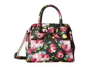 Betsey Johnson (SMALL) Bow Satchel Black Floral Heart Studded Bow FACTORY SEALED