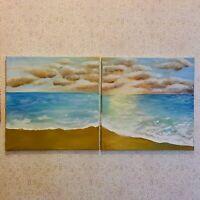 Original Acrylgemälde 2er-Set Wandbilder Landschaften Strand Meer See 40x40