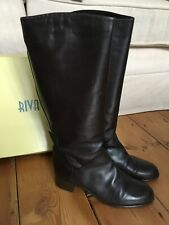 Riva Brown Leather Knee High Boots Size 41 (7) Cost £145