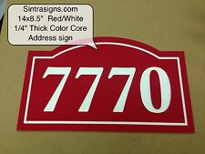 "Arched House Number Sign Address Plaque Red/White 1/4"" King ColorCore Engraved"
