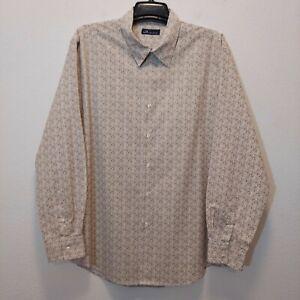JOHN ASHFORD Mens Beige Floral Dress Shirt Size XXL Long Sleeve Button Front