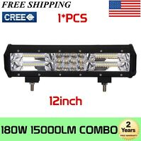 """12"""" 180W LED Work Light Bar Tri-row Spot Flood Combo SUV Boat Offroad Truck Ford"""