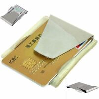1Pc Slim Stainless Steel Double Sided Money Clip Wallet Credit Card ID Holder