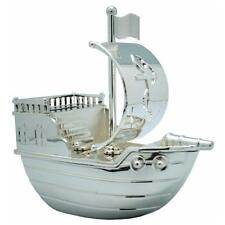 Personalised Pirate Ship Silver Plated Money Box FREE ENGRAVING Christening Gift