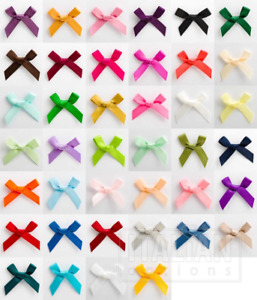 Cute Small 3cm Pre Tied Satin Mini Bows - Pack of 1, 10, 25 or 100 - 6mm Ribbon